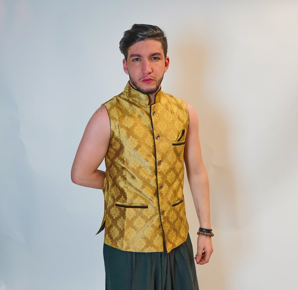 Yellow Gold Brocade Silk Modi Vest