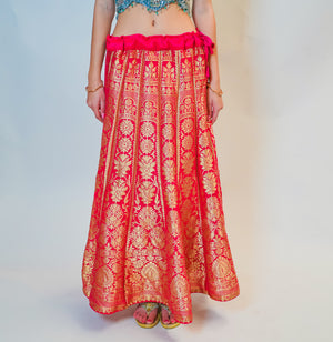 Silk Pink Kalidaar  Brocade Skirt