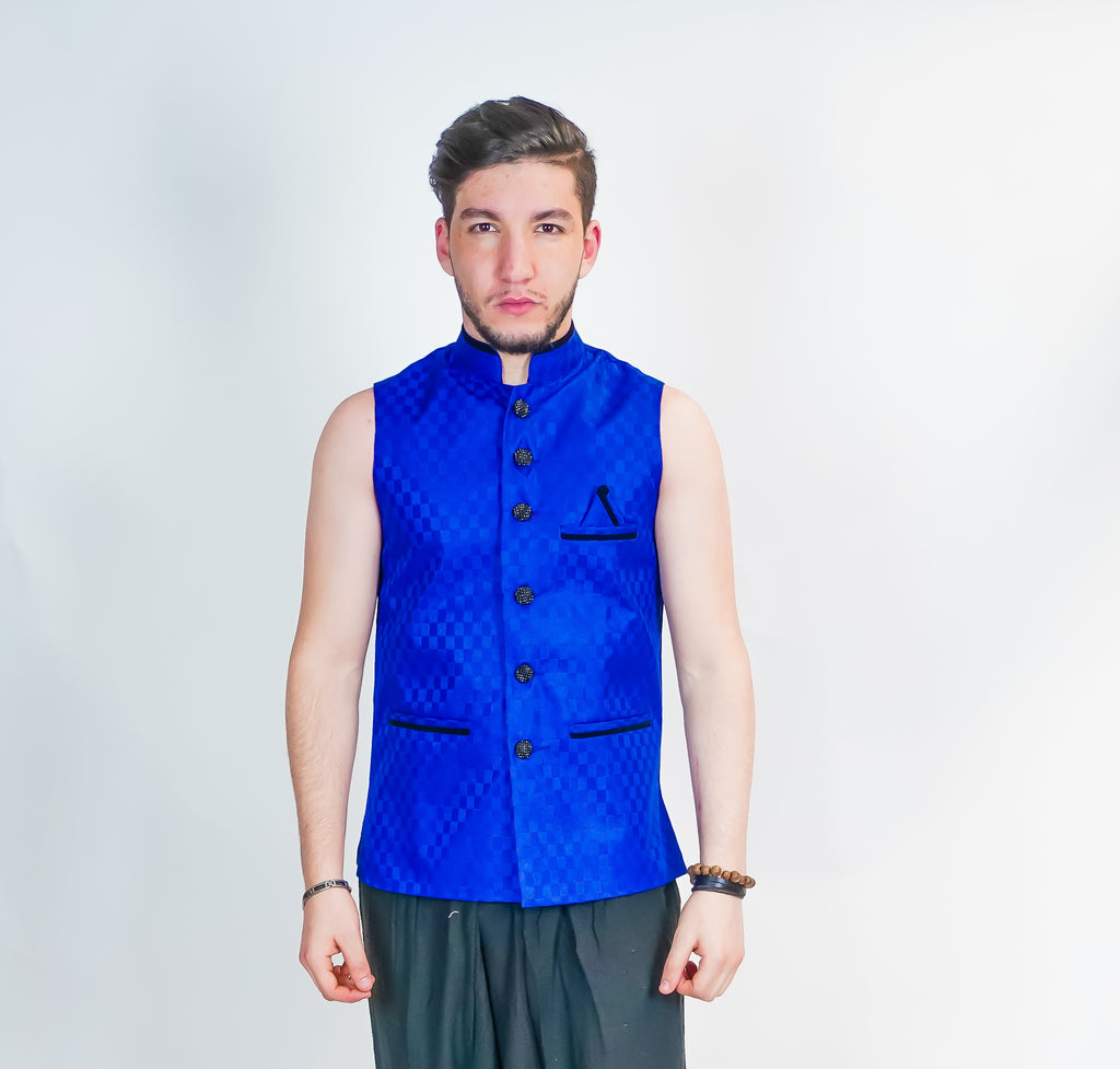 Bright Blue Silk Modi Vest