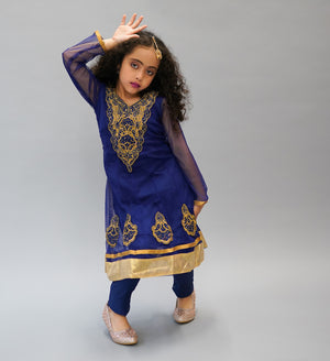Georgette Silk Indigo Blue Embroidered Girl's Salwar Suit