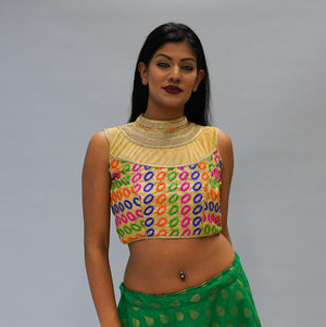 Formal Silk Royal Yellow Gold With Multicolor Crop Top