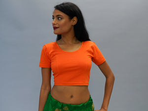 Cotton Orange Stretchy Crop Top