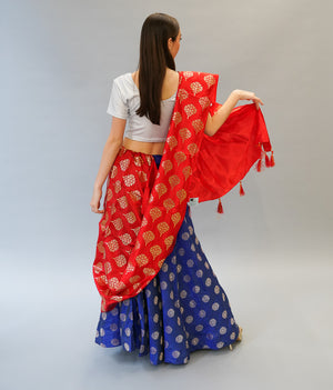 Silk  Brocade Lapis Blue Lehenga Skirt