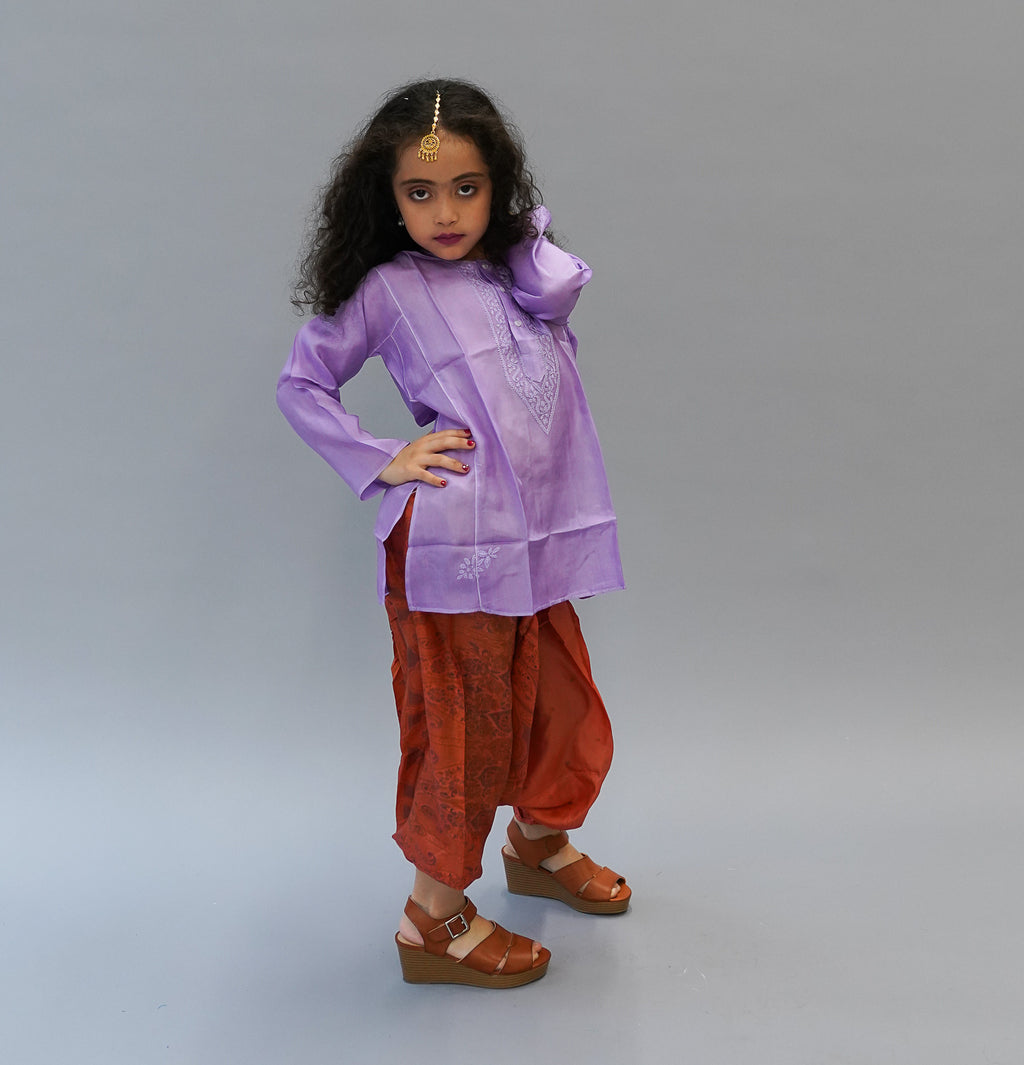 Silk Lilac Purple Embroidered Kurti / Tunic