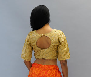 Formal Embroidered Silk Laguna Yellow Gold Crop Top with Three Quarter Sleeves