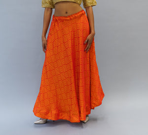 Silk Brocade Orange Lehenga Skirt