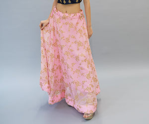 Silk  Brocade Lemonade Pink Lehenga Skirt