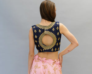 Silk Oxford Blue Embroidered Crop Top