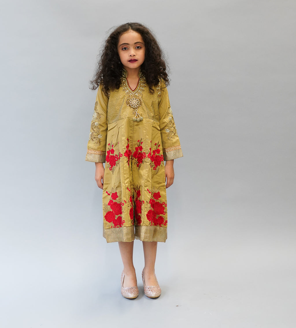 Silk Mellow Gold with Red Embroidered Girl's Kurta