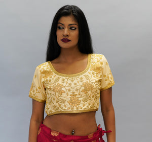 Formal Silk Golden Haze Embroidered Crop Top