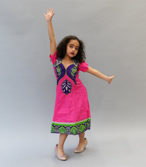 Cotton Hot Pink Embroidered Girl's Salwar Suit