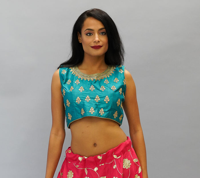 Formal Silk Thai Teal Blue Embroidered Crop Top