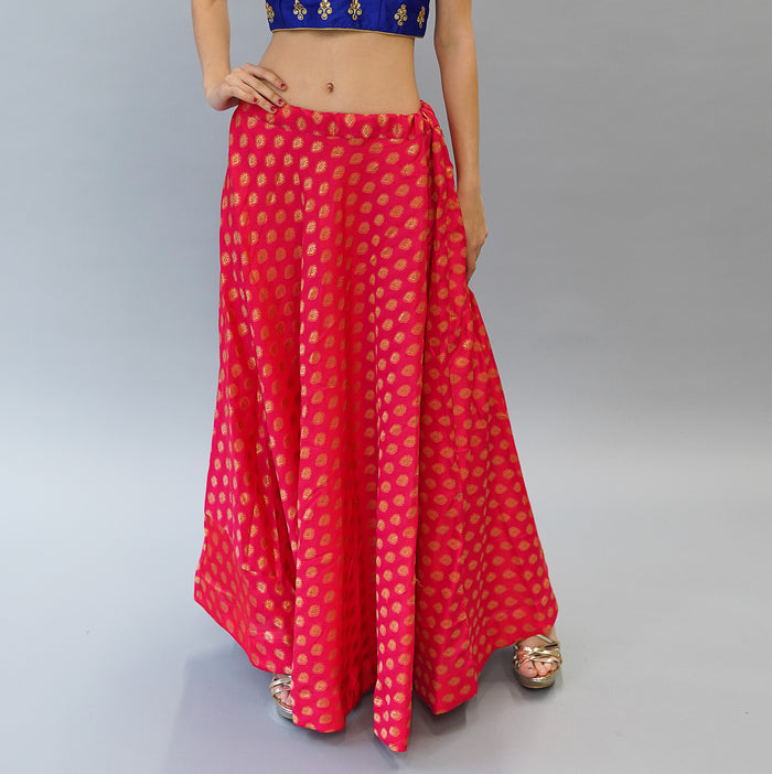 Silk Brocade Orangish Red  Lehenga Skirt