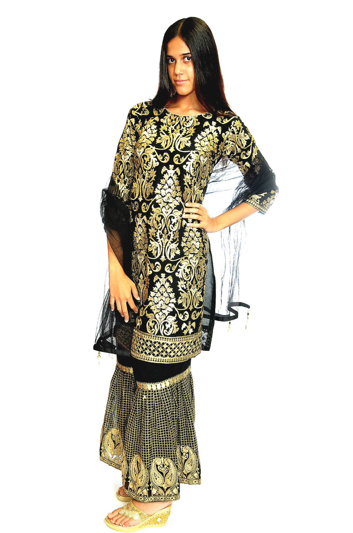Fancy Black & Gold Sharara