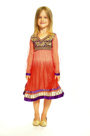 Red and Purple Silk and Chiffon Girls Dress