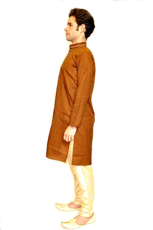 Cotton Embroidered Burnt Orange  Kurta