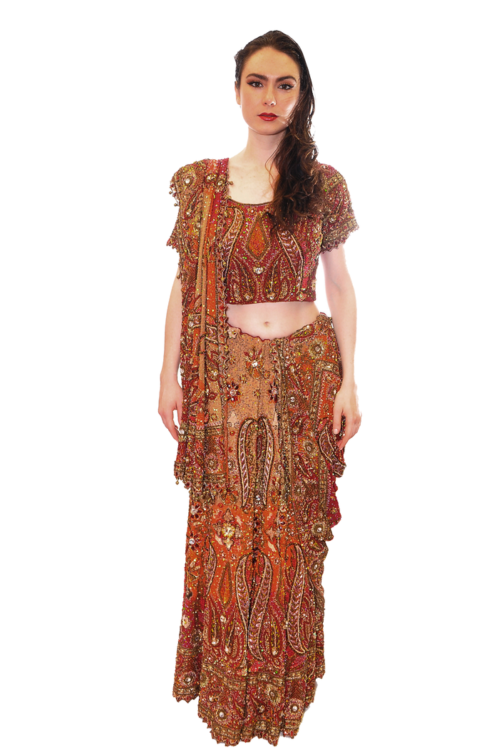 Heritage Designed Jeweled Blood Orange Maroon Bridal Lehenga