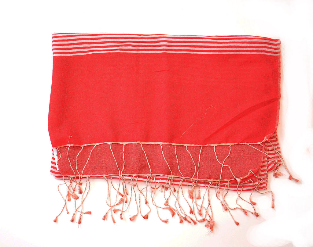 Coral Red Stripe Pure Pashmina Scarf