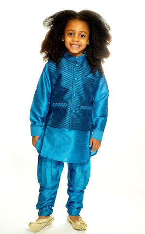 Silk Azure Blue Kurta With Vest