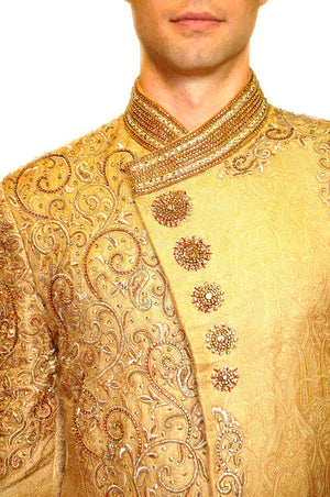 Silk Brocade Cream Yellow Gold Embroidered Sherwani/ Bandhgala