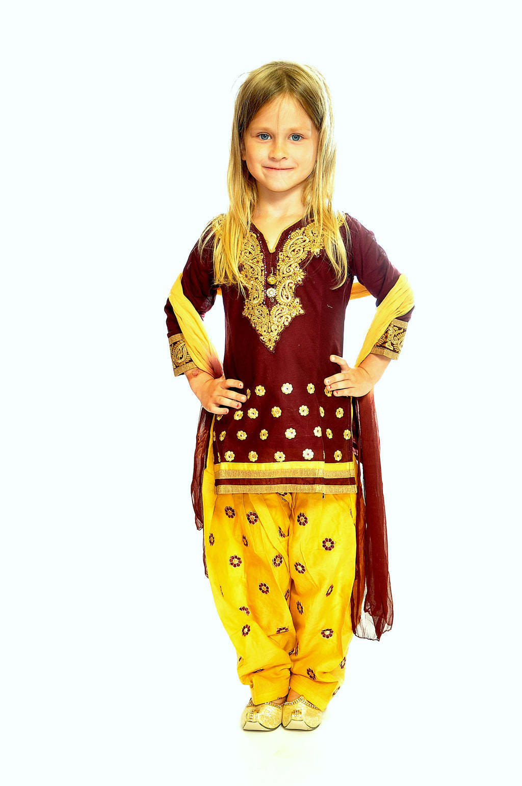 Burgundy and Banana Silk and Chiffon Girls Salwar Kameez