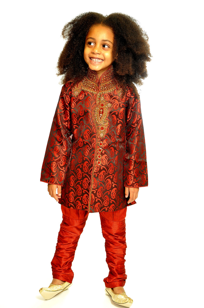 Maroon Sherwani with Maroon Churidar Pants