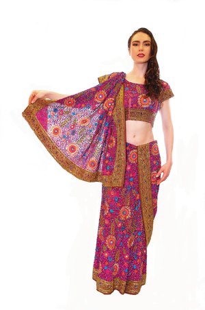 Lovable Fuchsia Jeweled Bridal Lehenga