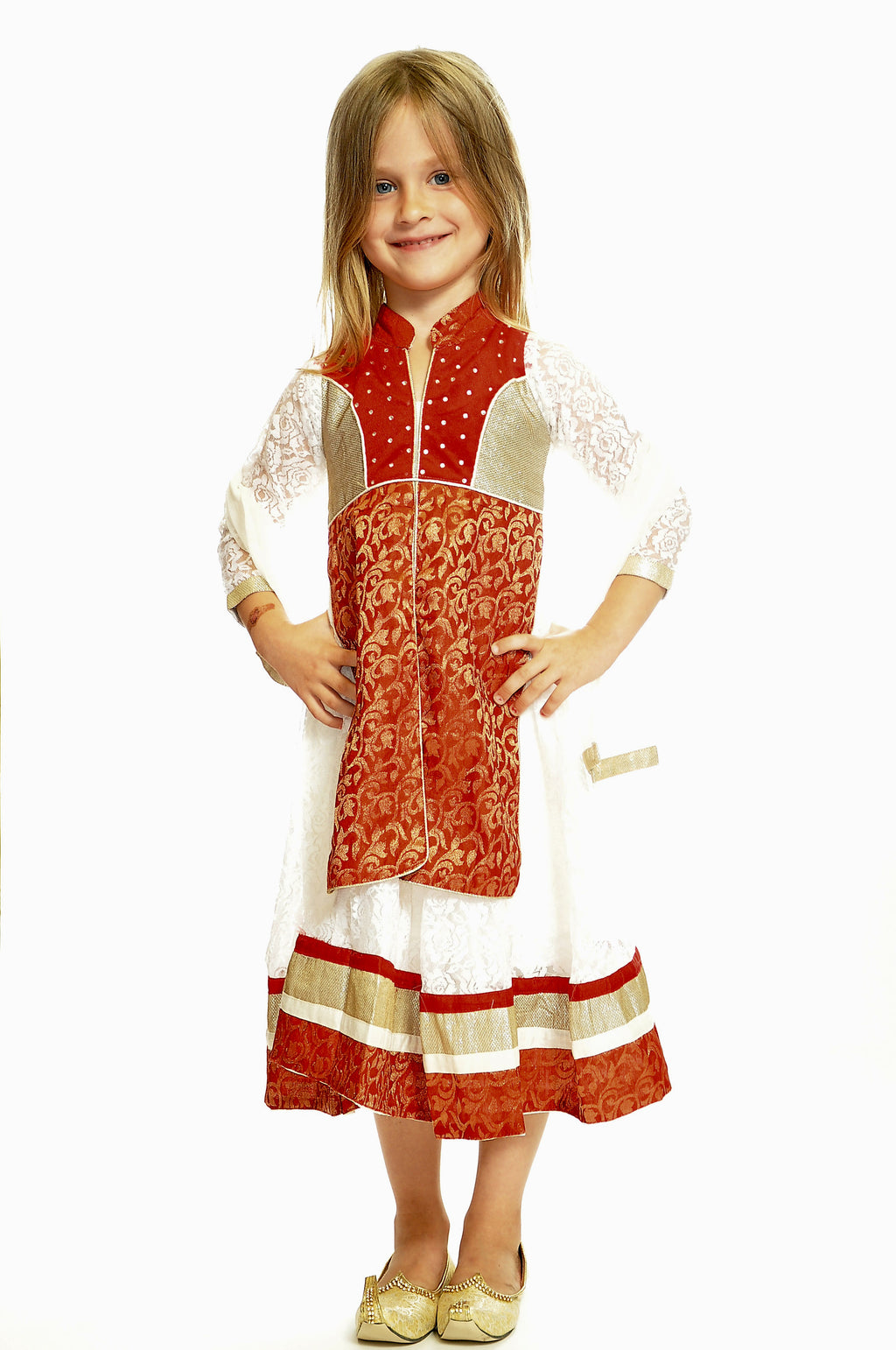 White and Red Silk and Net Girls Dress