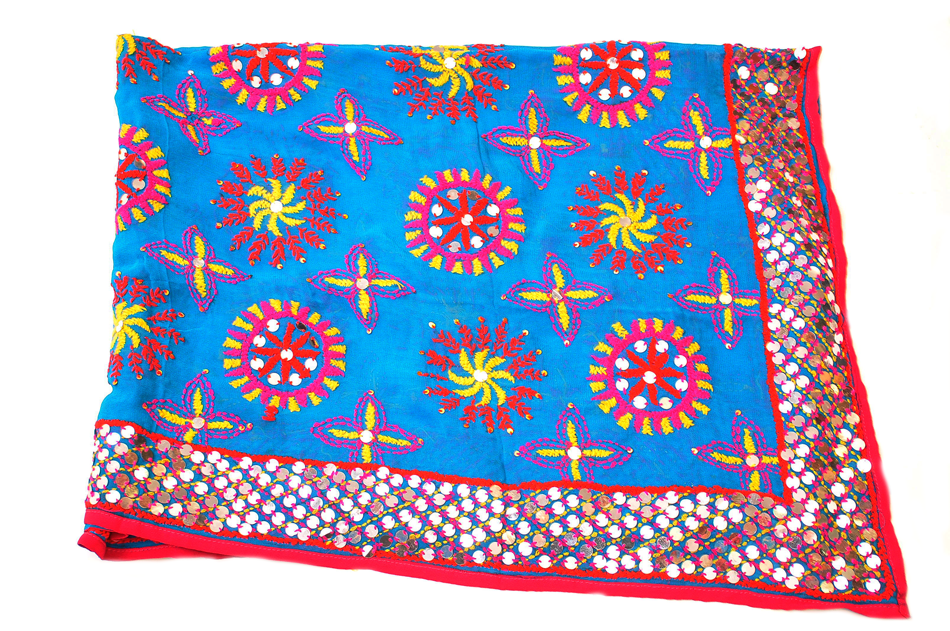 Blue Floral Embroidered Phulkari Dupatta
