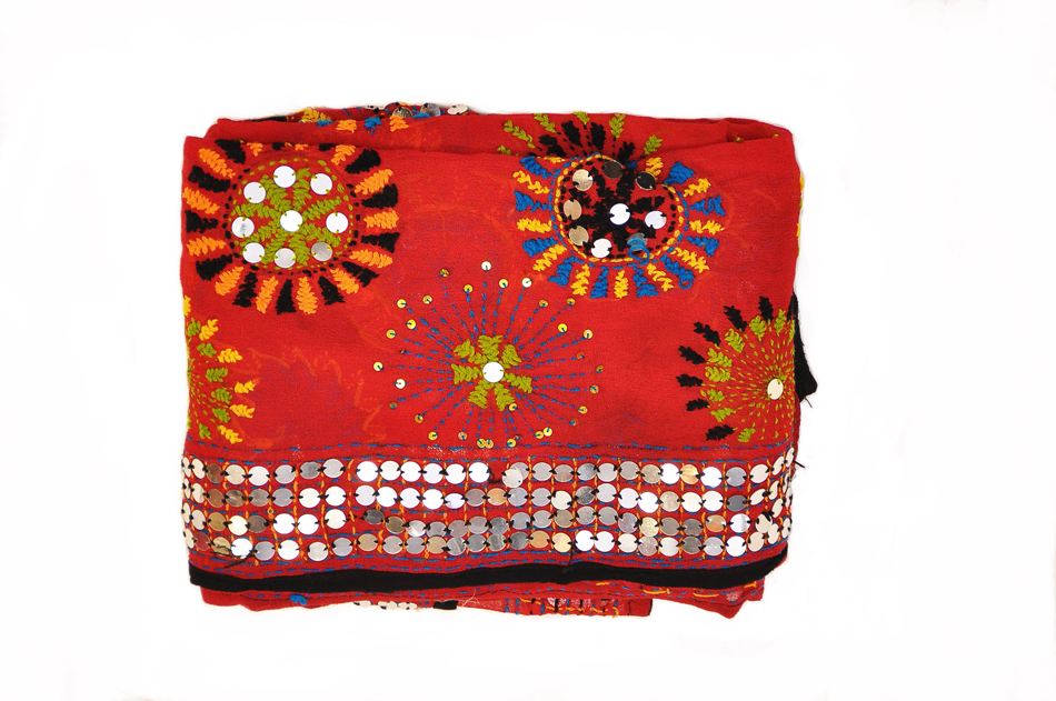 Red and Silver Mirror Phulkari Dupatta