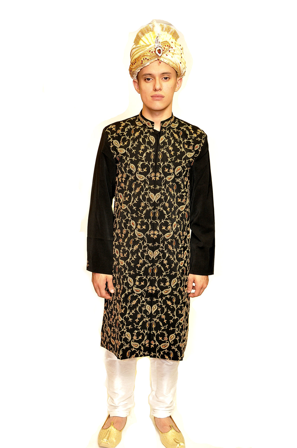 Heritage Embroidered Silk Black and Gold Sherwani