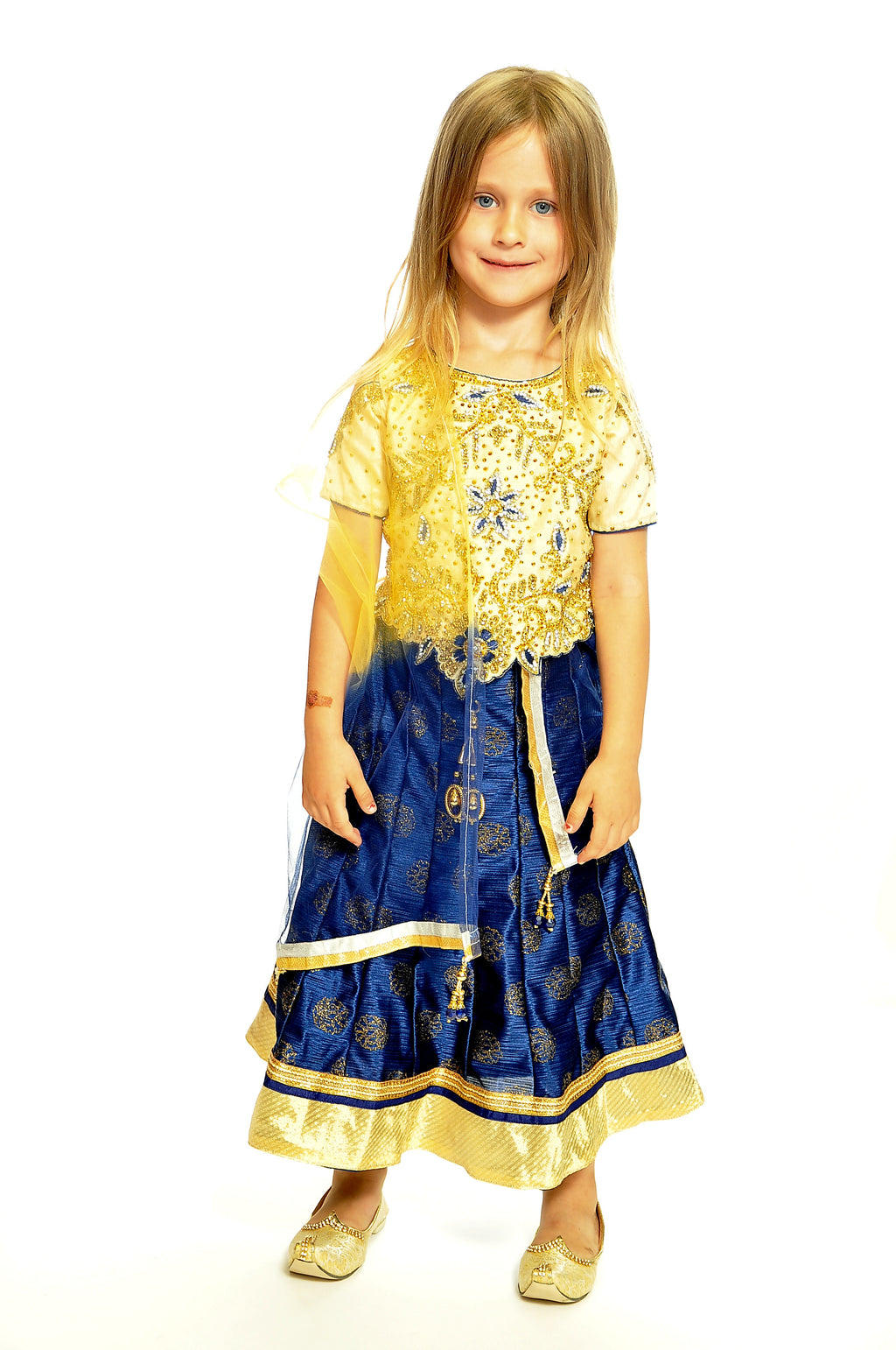 Formal Golden Navy Silk Anarkali