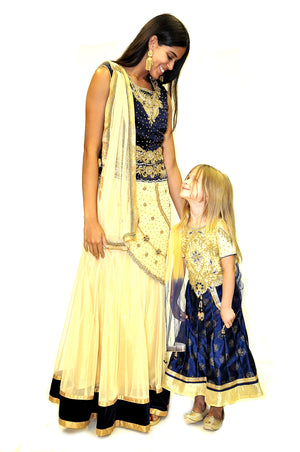 Formal Golden And Navy Silk Kids Lehenga