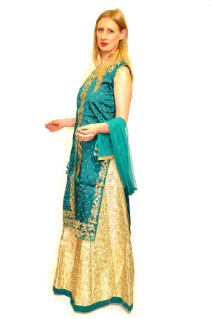 Teal and Ivory Anarkali Split Lehenga
