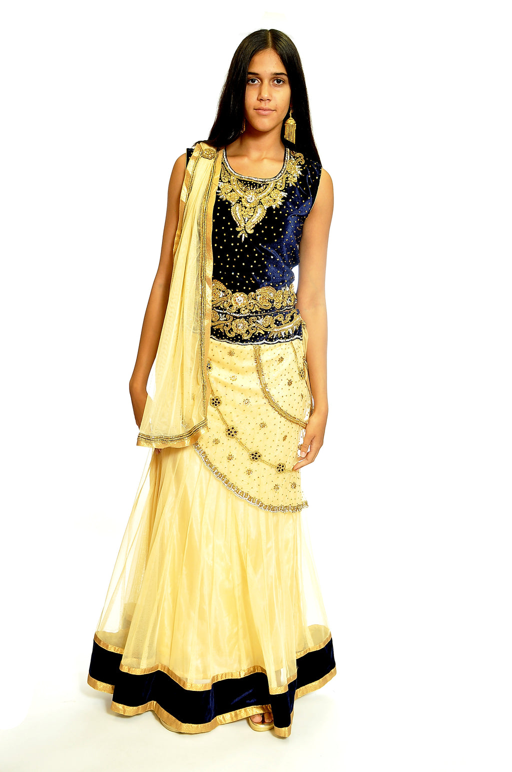Formal Cream and Navy Lehenga
