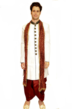 Formal White with Blue Trim work Sherwani