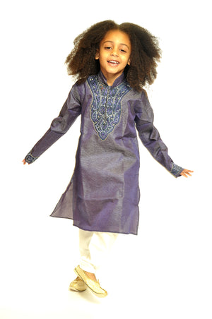 Formal Graphite Embroidered Kurta