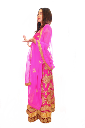 Formal Fuchsia with Gold work Lehenga