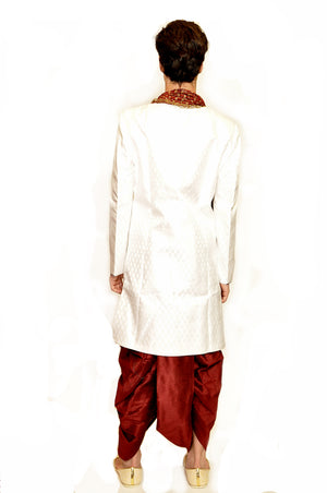 Formal Silk Brocade White with Blue Trim work Sherwani