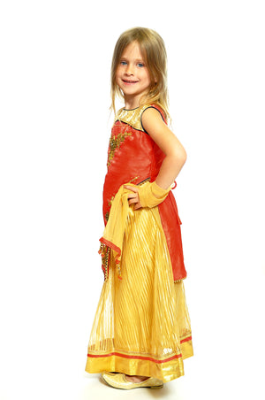 Canary and Blood Orange Silk and Chiffon Lehenga For Kids
