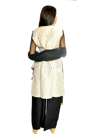 Angrakha Block Print Black Cream Kurti