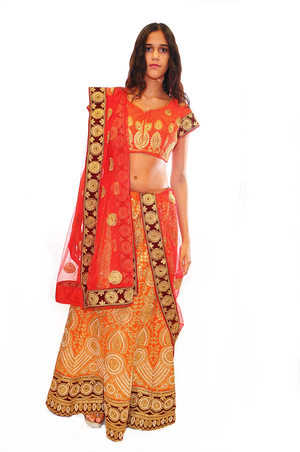 Mud Orange Full Gold Embroidery lehenga