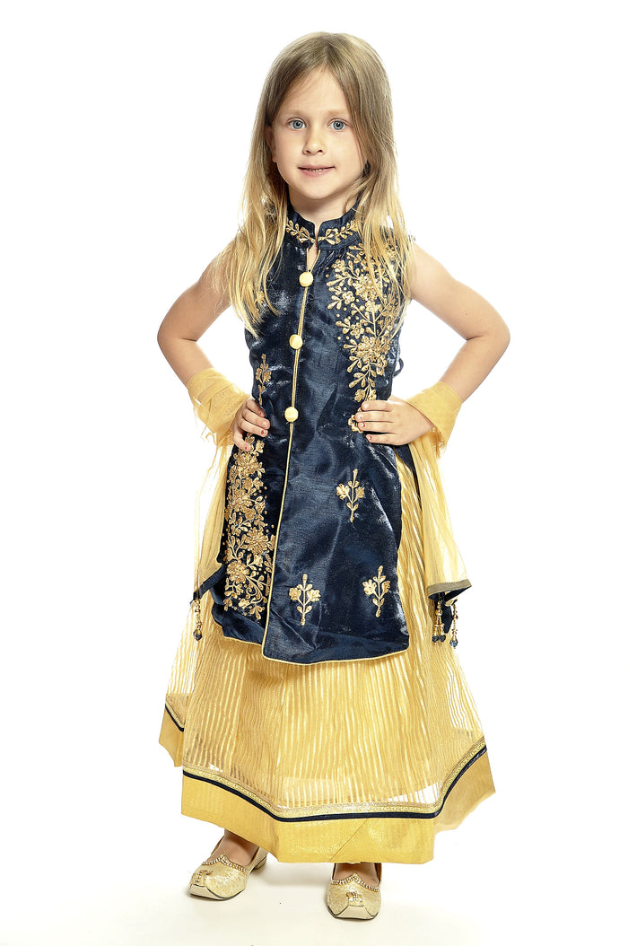 Canary and Navy Silk and Chiffon Girls Lehenga