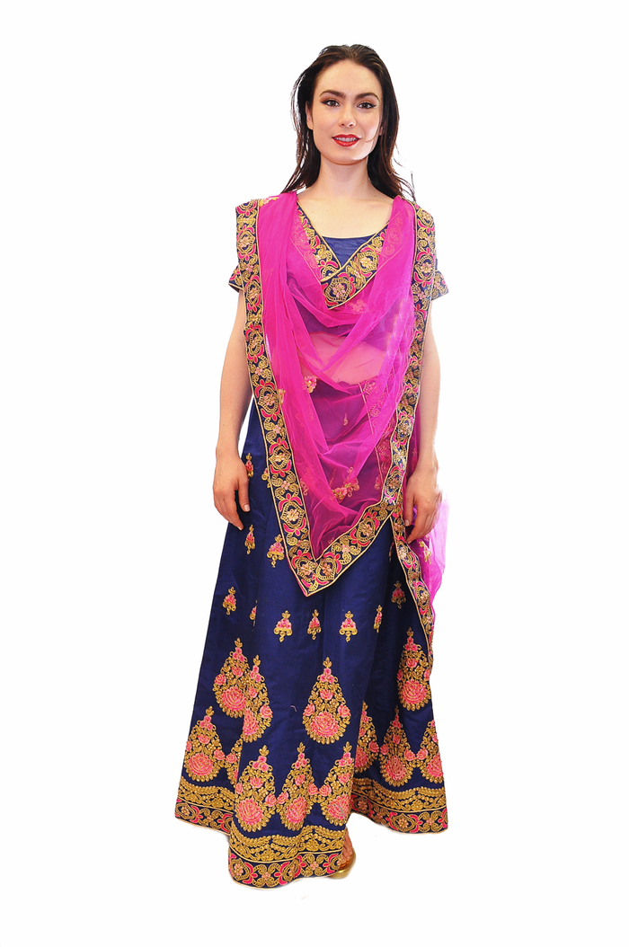 Two Tone Navy Blue and Fuchsia work Lehenga