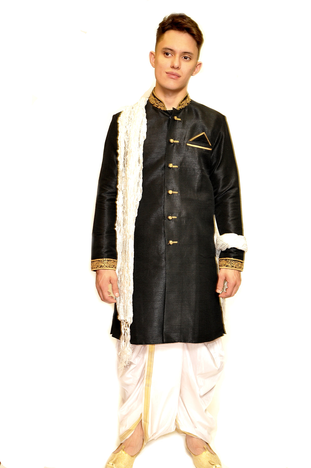 Formal Silk Black Sherwani