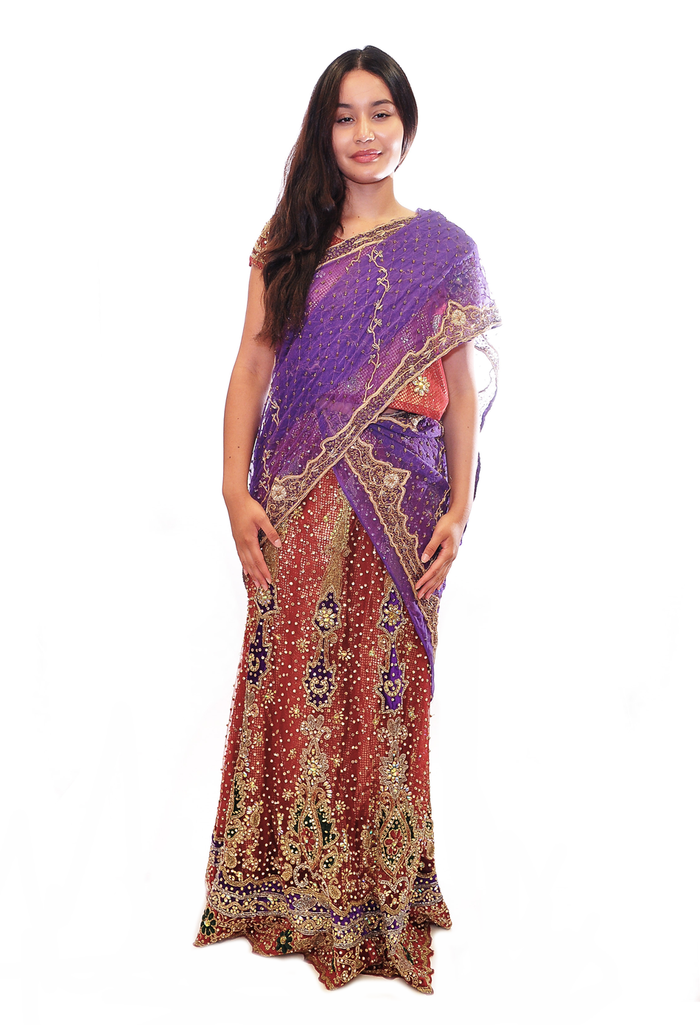 Heritage Designed Mauve & Maroon Jeweled Bridal Lehenga