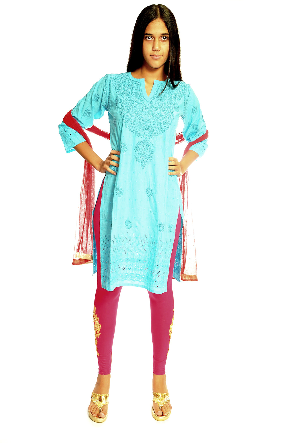Sky Blue Cotton Embroidered Kurti
