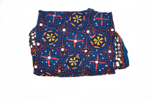 Royal Blue Phulkari Embroidered Scarf