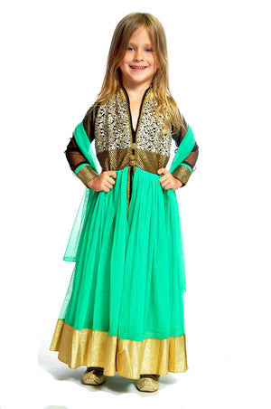 Teal and Gold Silk and Chiffon Girls Dress