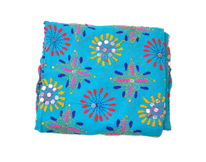Light Blue Embroidered Phulkari Scarf